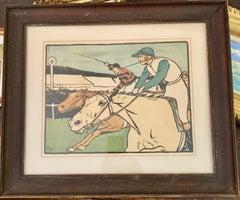English Victorian 19th Horse Racing scene with Jockeys