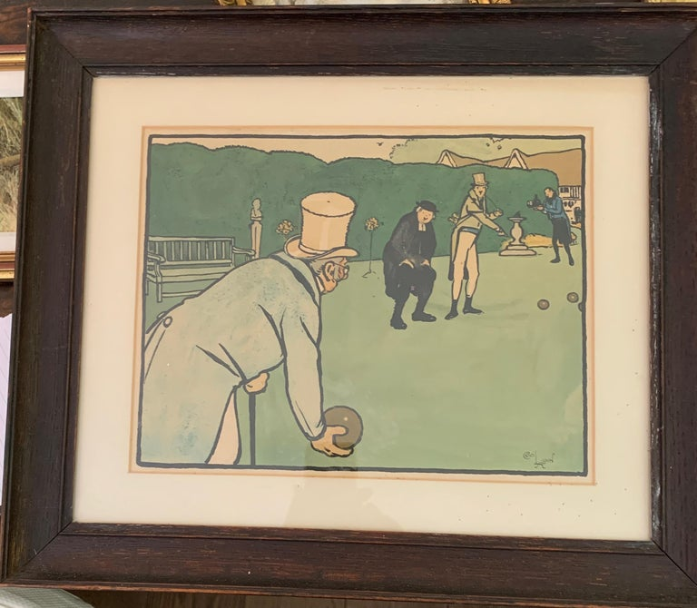 Cecil Charles Windsor Aldin, R.B.A. Figurative Print - English victorian Gentlemen playing Crown Bowls