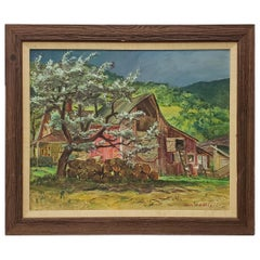 """Cecil Crosley Bell """"Silver Maple Barn at Blanchards"""" Original Painting"""