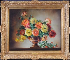 Chrysanthemums - Floral Still Life Oil Painting with Bee & Ladybird