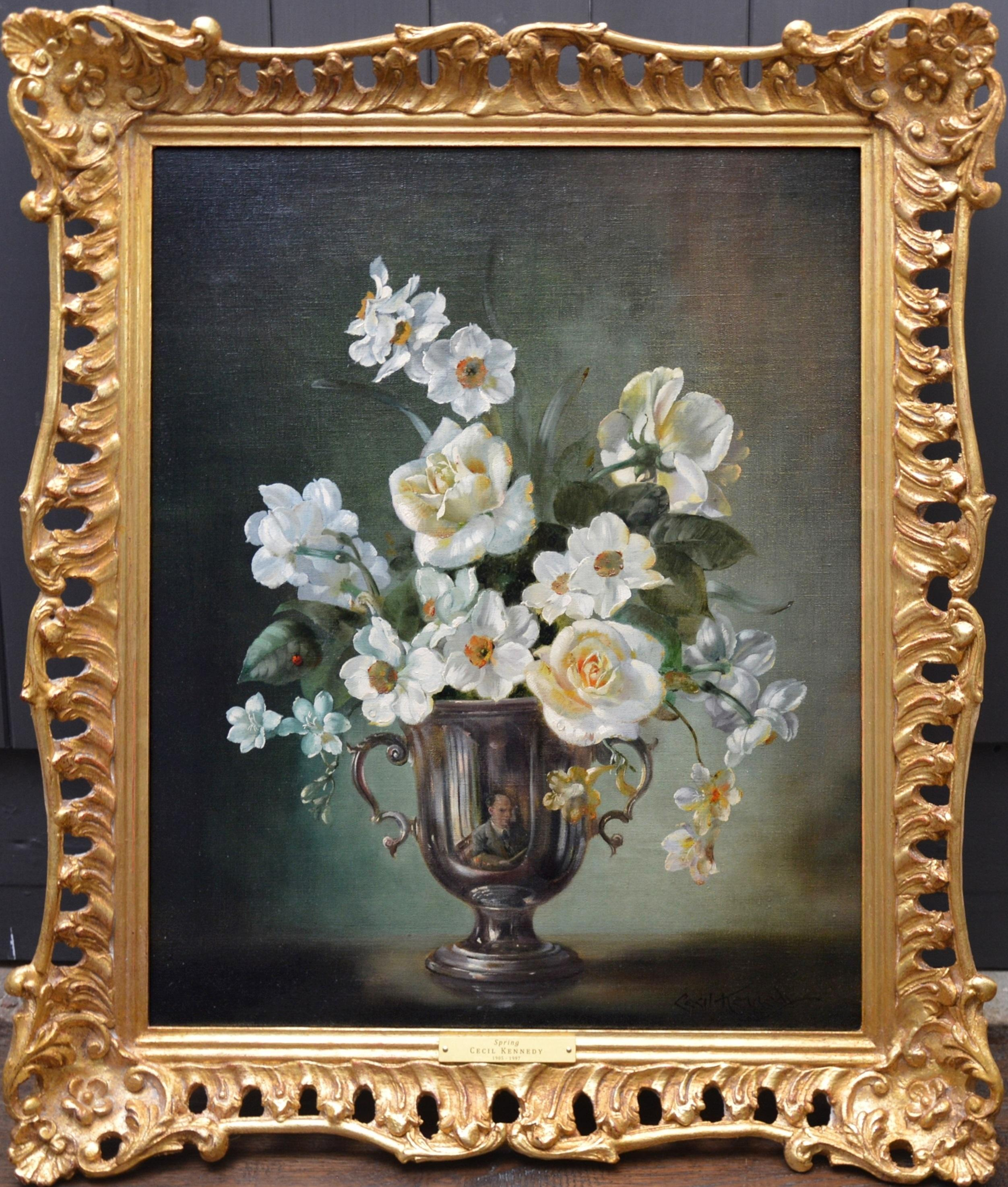 Spring - Floral Still Life of White Daffodils & Roses with Hidden Self Portrait