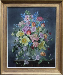 Summer Arrangement - British art 1930's oil painting floral still life roses