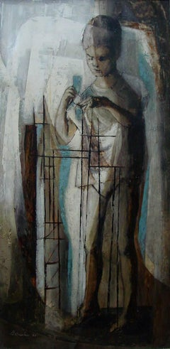"""""""Contruction Number 2""""  Texas Mid Century painting. 1955"""