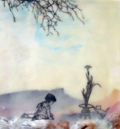 A Tribute, Encaustic Landscape Painting with Child, Flower Still Life, Cat, Tree