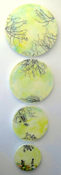 Branches Everywhere, Circular Encaustic Paintings in Blue, Ivory, Yellow