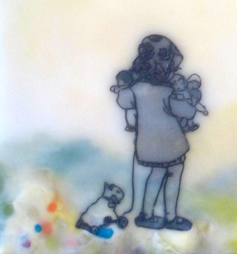 Chocolate-Chocolate-ChiKuLek, Encaustic Landscape Painting of Child with Toys - Contemporary Mixed Media Art by Cecile Chong