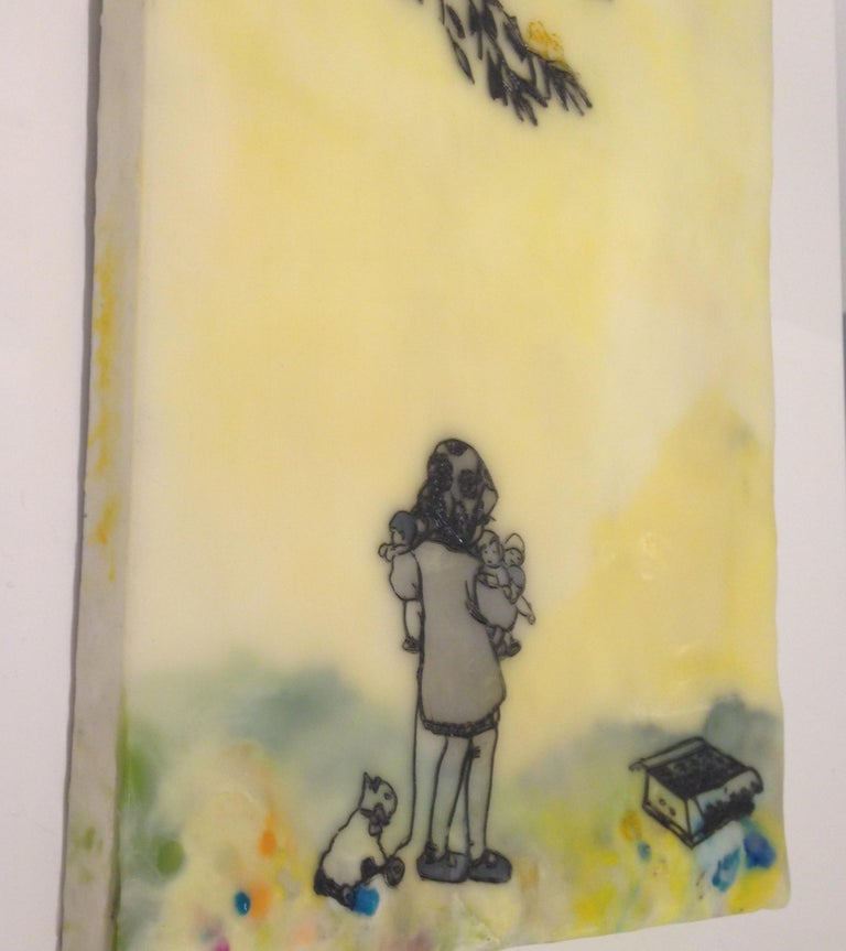 Chocolate-Chocolate-ChiKuLek, Encaustic Landscape Painting of Child with Toys For Sale 1