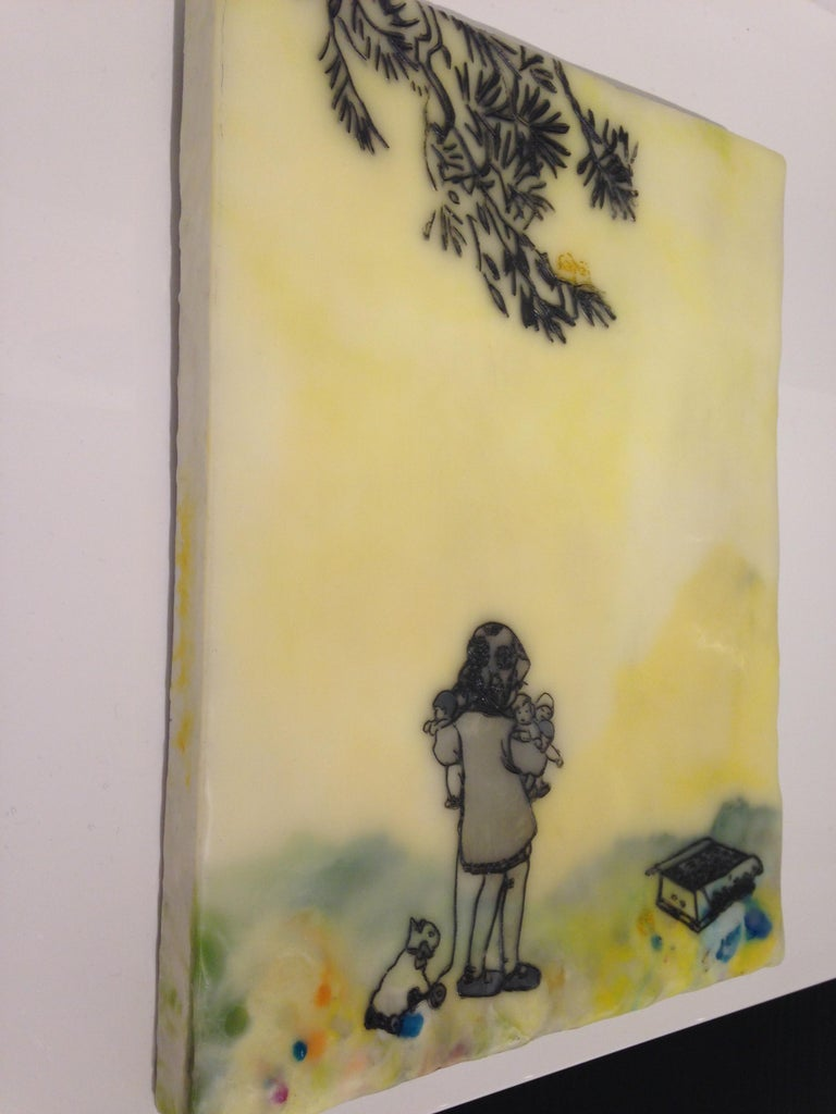 Chocolate-Chocolate-ChiKuLek, Encaustic Landscape Painting of Child with Toys For Sale 2