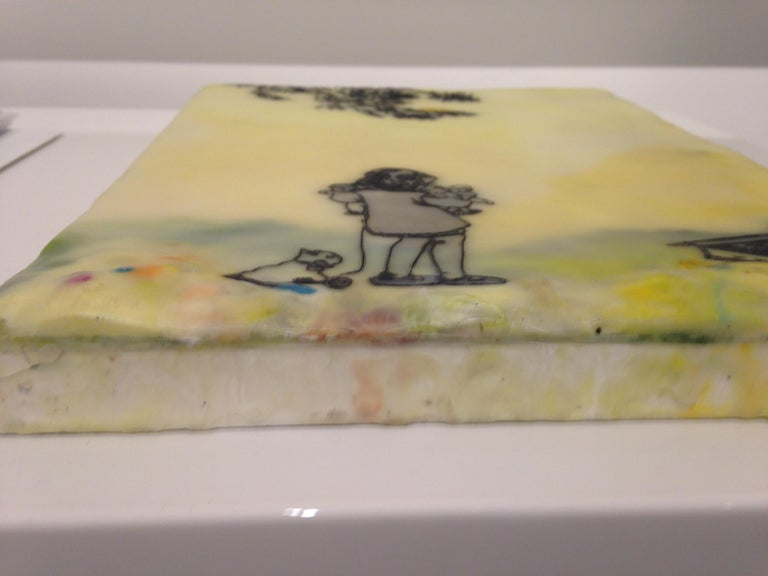 Chocolate-Chocolate-ChiKuLek, Encaustic Landscape Painting of Child with Toys For Sale 3