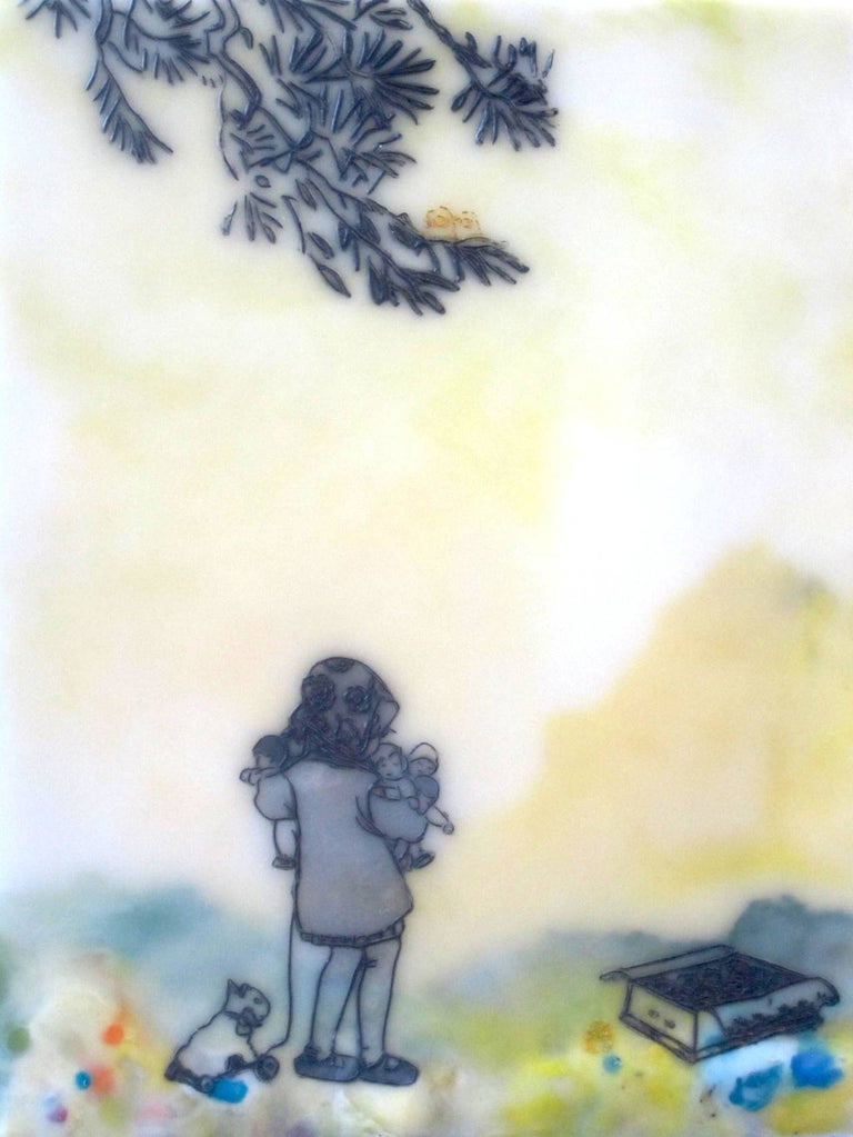 Chocolate-Chocolate-ChiKuLek, Encaustic Landscape Painting of Child with Toys - Mixed Media Art by Cecile Chong