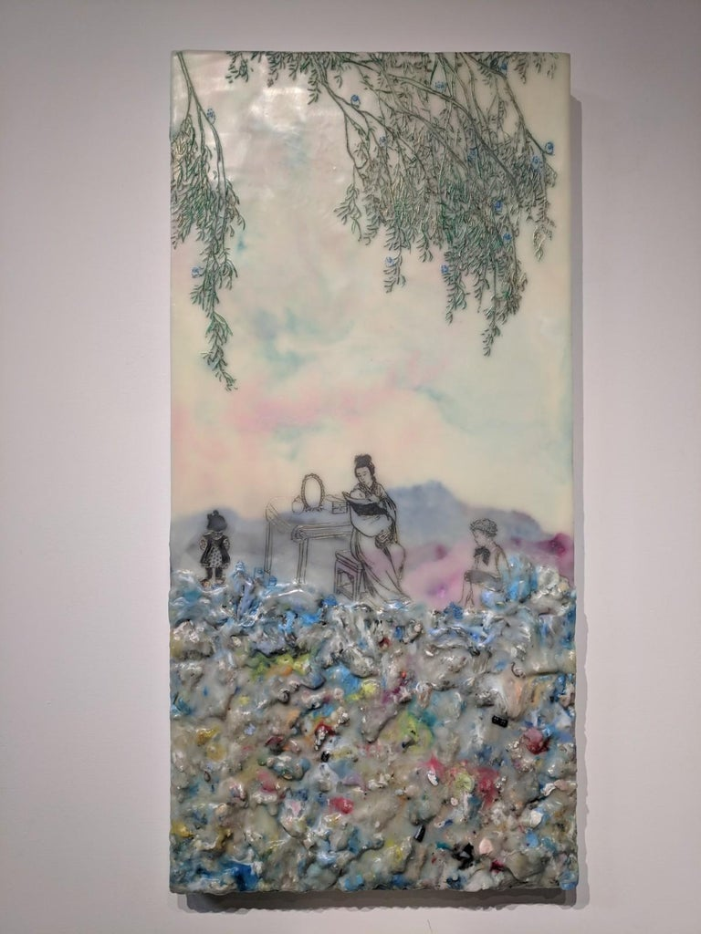Competing Interests, Encaustic Landscape, Mother and Children in Pink and Blue - Painting by Cecile Chong