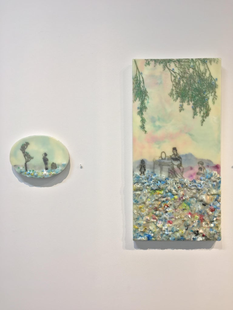 Competing Interests, Encaustic Landscape, Mother and Children in Pink and Blue - Contemporary Painting by Cecile Chong