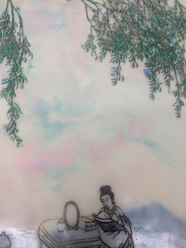Competing Interests, Encaustic Landscape, Mother and Children in Pink and Blue For Sale 1