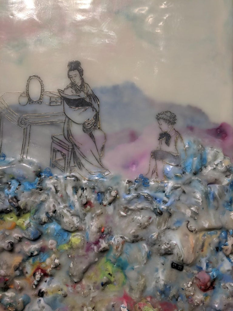 Competing Interests, Encaustic Landscape, Mother and Children in Pink and Blue For Sale 2