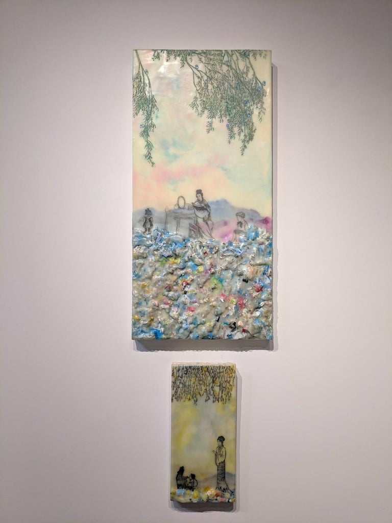 Competing Interests, Encaustic Landscape, Mother and Children in Pink and Blue For Sale 4