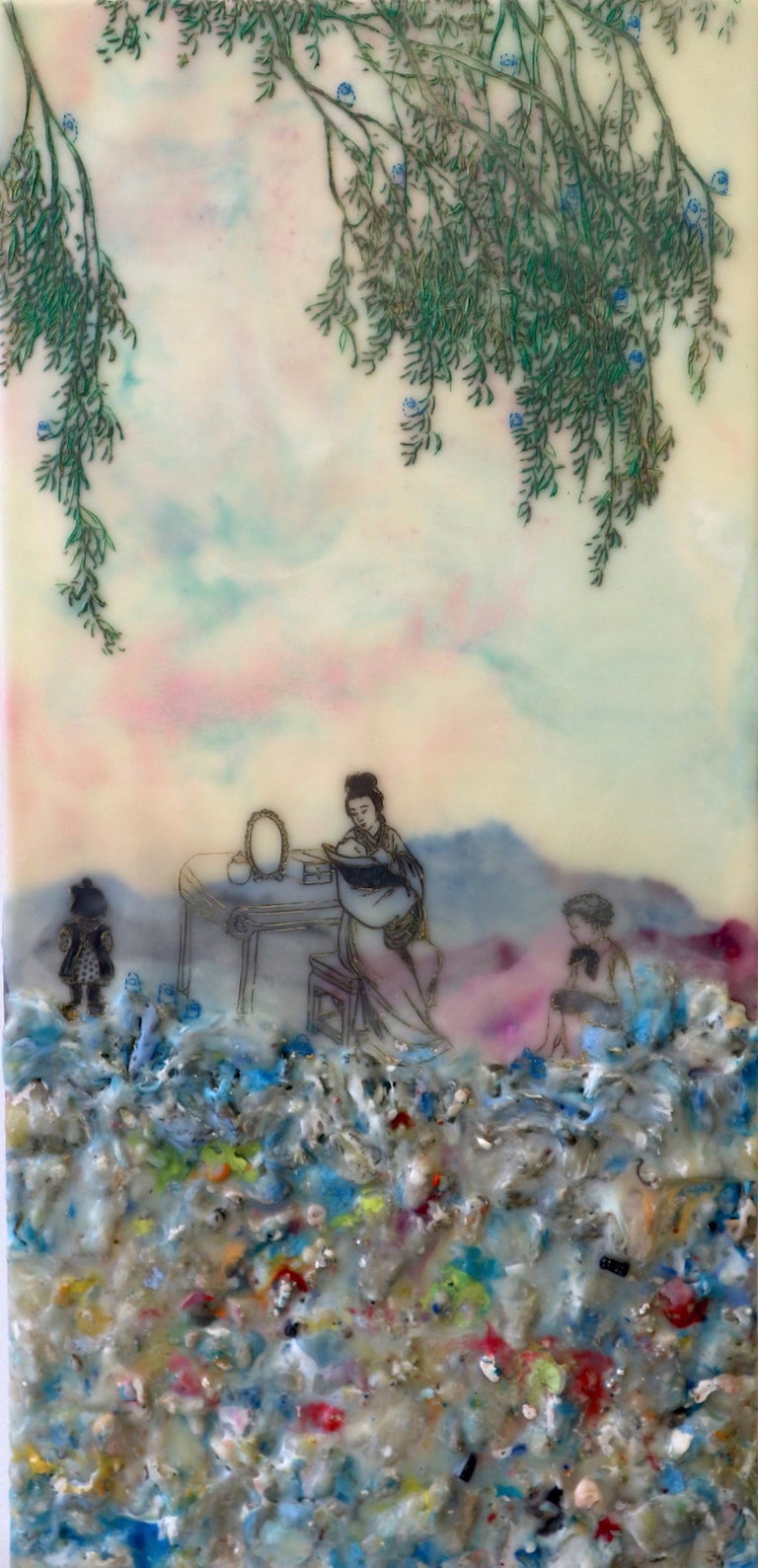Cecile Chong Figurative Painting - Competing Interests, Encaustic Landscape, Mother and Children in Pink and Blue
