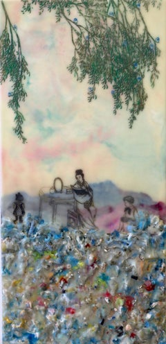 Competing Interests, Encaustic Landscape of Mother and Children in Pink and Blue