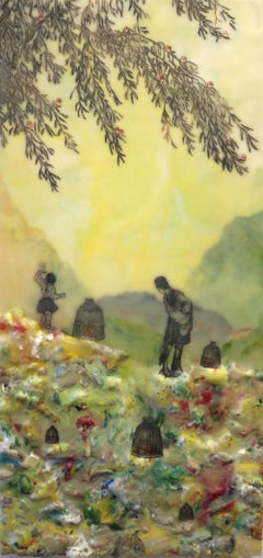 Isolated Examples, Encaustic Landscape with Figures in Yellow, Green, Burgundy