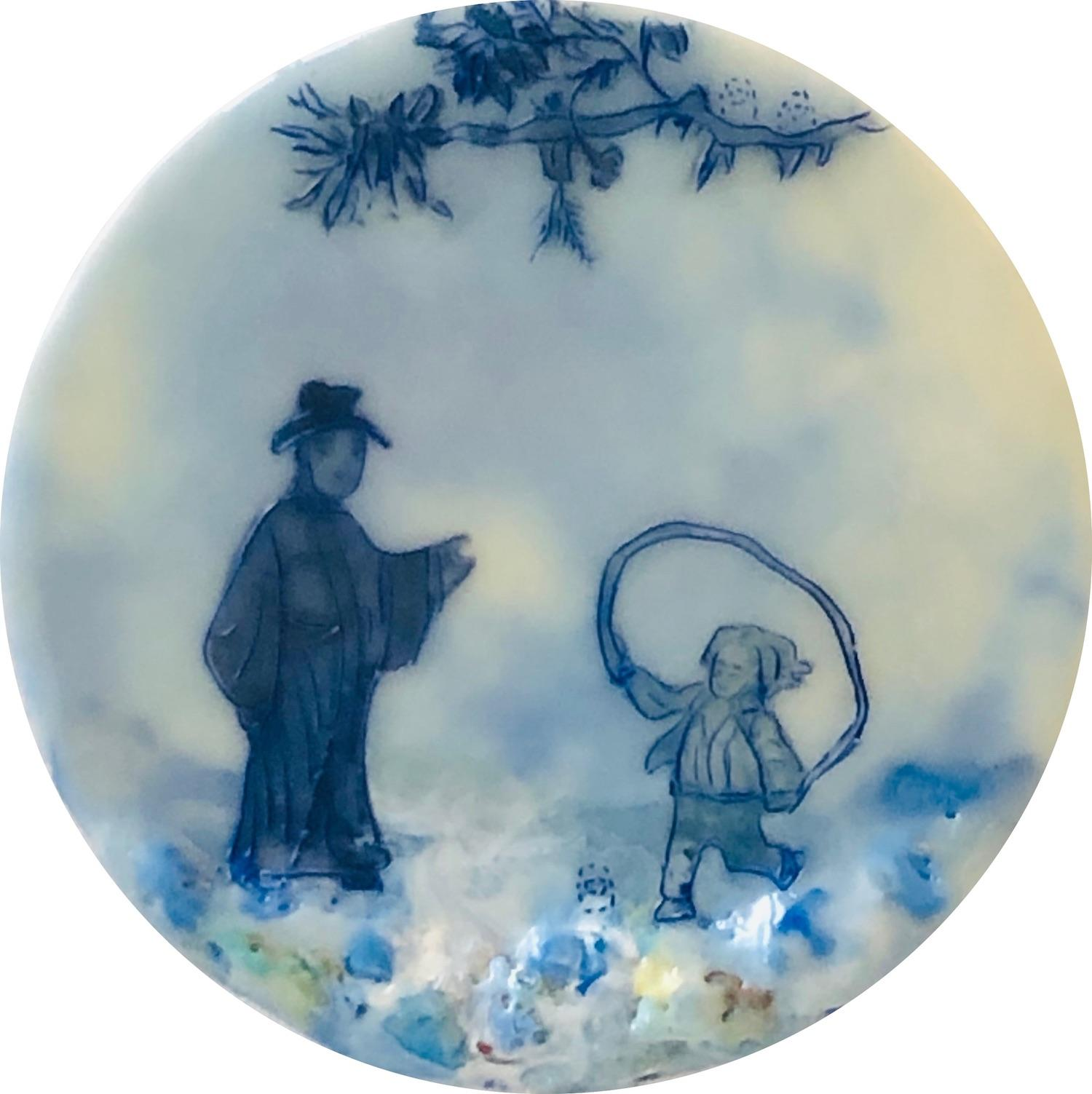 Jump In, Circular Encaustic Painting of a Man and Child in Blue, Ivory and White