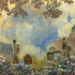 Rules of Trade, Encaustic Landscape in Blue and Yellow, Figures with Baskets