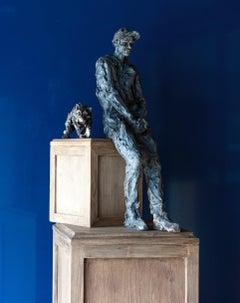 Wolf's Dream - Teenager Portrait, Stoneware Sculpture