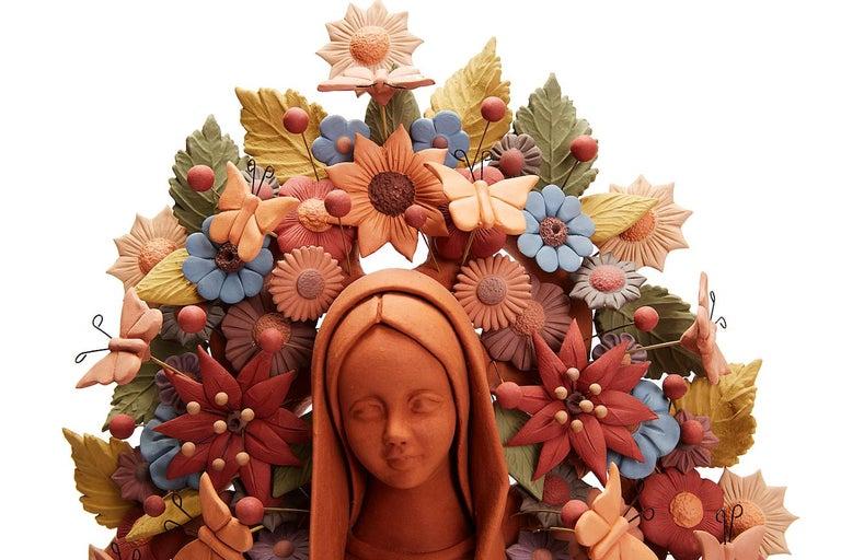 Virgen de Guadalupe - Our Lady of Guadalupe   / Ceramics Mexican Folk Art Clay - Brown Figurative Sculpture by Cecilio Sanchez Fierro