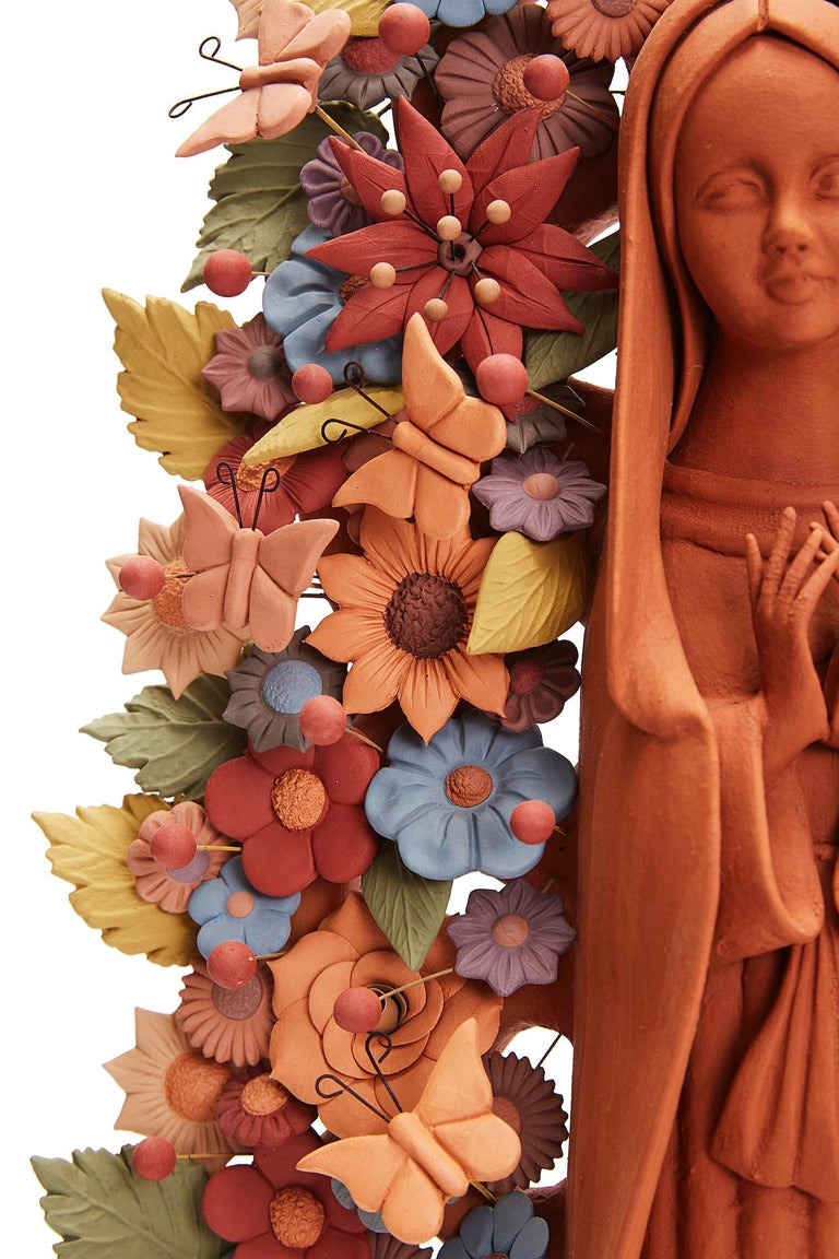 Virgen de Guadalupe - Our Lady of Guadalupe   / Ceramics Mexican Folk Art Clay For Sale 5