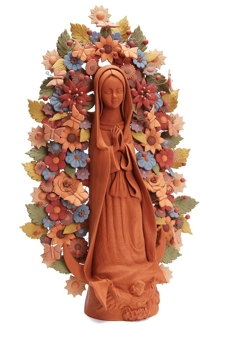 Cecilio Sanchez Fierro Figurative Sculpture - Virgen de Guadalupe - Our Lady of Guadalupe   / Ceramics Mexican Folk Art Clay