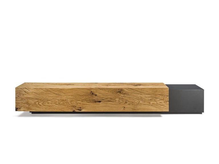 Italian Cedar and Steel Bench in Solid Natural Cedar Wood For Sale