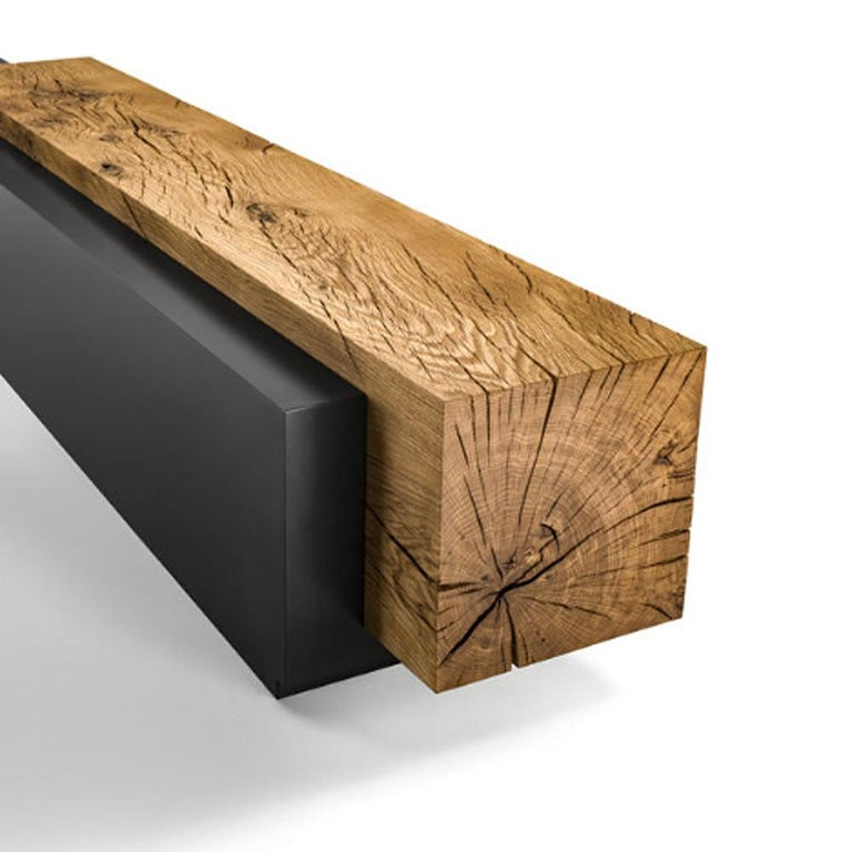 Hand-Carved Cedar and Steel Bench in Solid Natural Cedar Wood For Sale