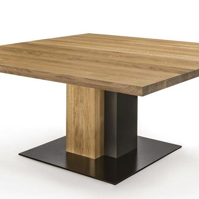 Contemporary Cedar and Steel Dining Table in Solid Natural Cedar Wood For Sale