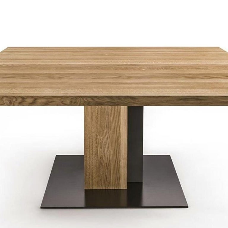 Cedar and Steel Dining Table in Solid Natural Cedar Wood For Sale 1