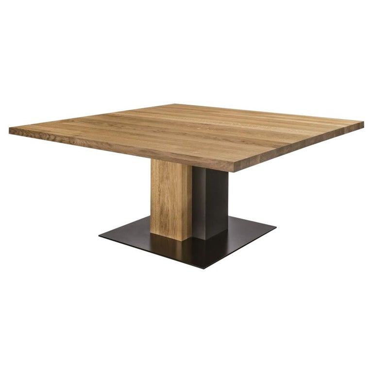 Cedar and Steel Dining Table in Solid Natural Cedar Wood For Sale