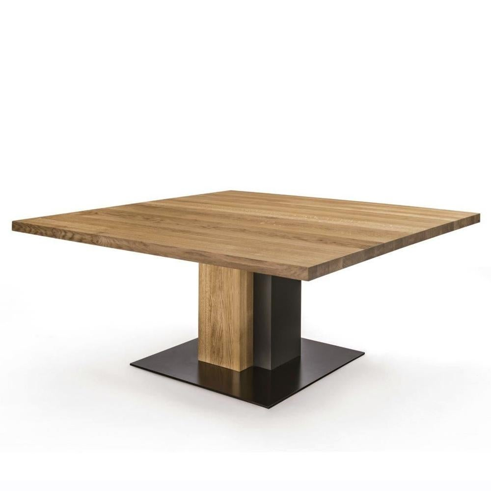Cedar And Steel Dining Table In Solid Natural Cedar Wood