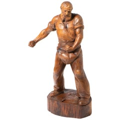 Cedar Wood Carving of a Male Figure Sewing Seed, South Tyrol, circa 1945