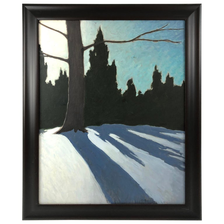 Cedars and Snow Landscape Painting by Elihu Root For Sale