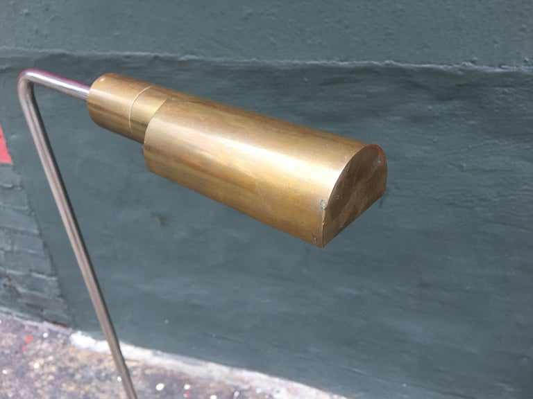 Cedric Hartman floor lamp with solid brass canopy and base, acrylic dimmer switch, and chrome support stem. Canopy swivels 360 degrees as does support stem. Brass has aged to a beautiful patina.