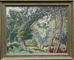 Lexden Park Colchester - Scottish 30's Art Deco oil painting wooded landscape
