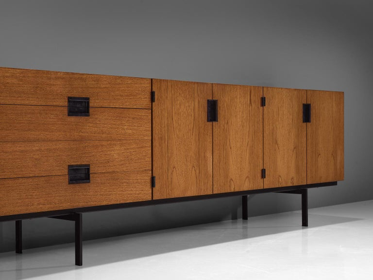 Cees Braakman for UMS Pastoe, sideboard model DU03, teak and metal, by The Netherlands, design 1958, production 1960s.