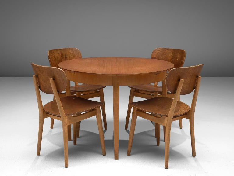 Cees Braakman for Pastoe, dining set with table TB35 and four chairs SB11, birch and teak, The Netherlands, 1950s  Matching dining set consisting of a TB35 table and four SB11 chairs by Dutch designer Cees Braakman for UMS Pastoe. This dining set
