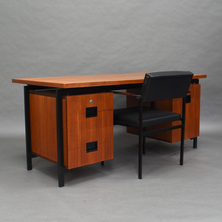 Japanese series desk and chair in teak by Cees Braakman for Pastoe, Netherlands, 1950s. Very cool to find as a matching set.  Model EU-02 desk and FM-17 armchair. The desk still has the original Pastoe key.  The small drawers are made of bent