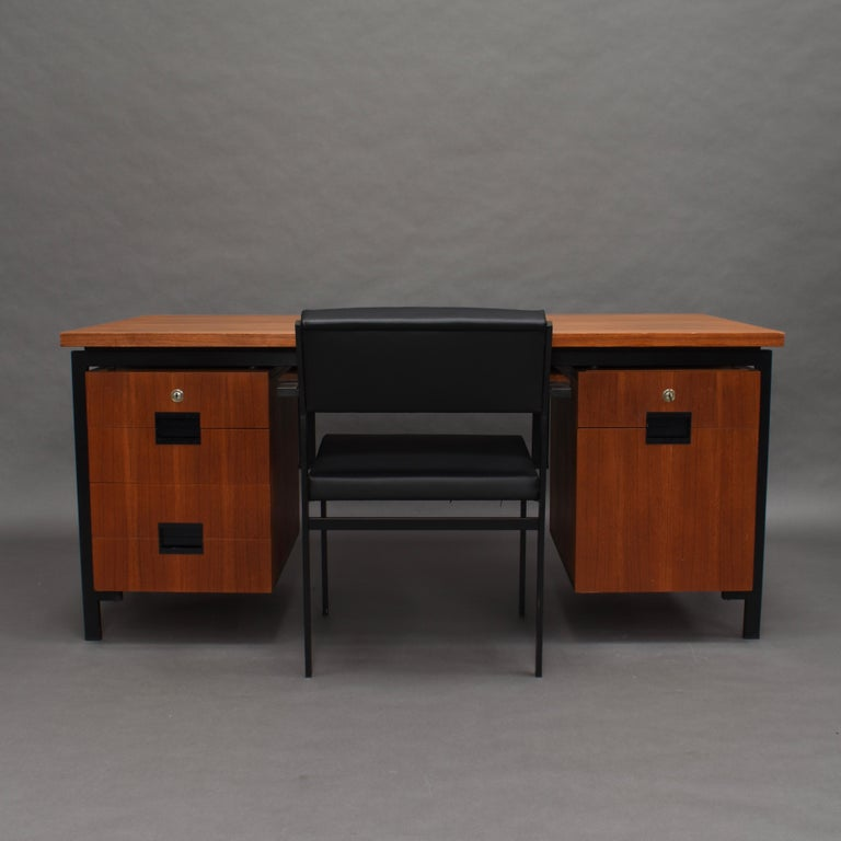Dutch Cees Braakman for Pastoe Model EU02 Japanese Series Desk and Chair in Teak, 1950 For Sale