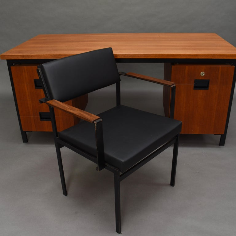 Mid-20th Century Cees Braakman for Pastoe Model EU02 Japanese Series Desk and Chair in Teak, 1950 For Sale