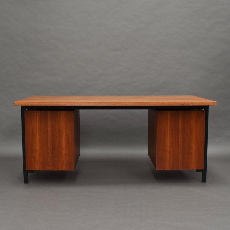 Metal Cees Braakman for Pastoe Model EU02 Japanese Series Desk and Chair in Teak, 1950 For Sale