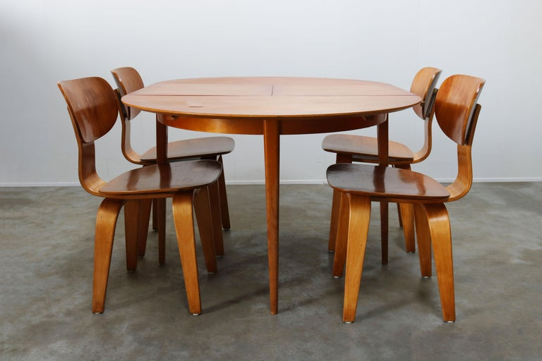 Cees Braakman for UMS Pastoe Dining Set 1952 SB02, TB05 Beige Brown Yellow Teak For Sale 3