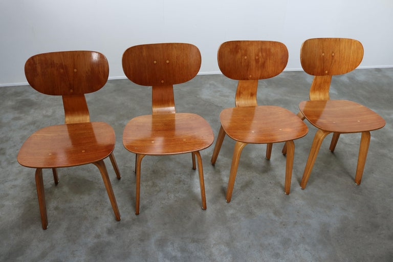 Cees Braakman for UMS Pastoe Dining Set 1952 SB02, TB05 Beige Brown Yellow Teak For Sale 6
