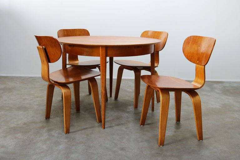 Cees Braakman for UMS Pastoe Dining Set 1952 SB02, TB05 Beige Brown Yellow Teak For Sale 9