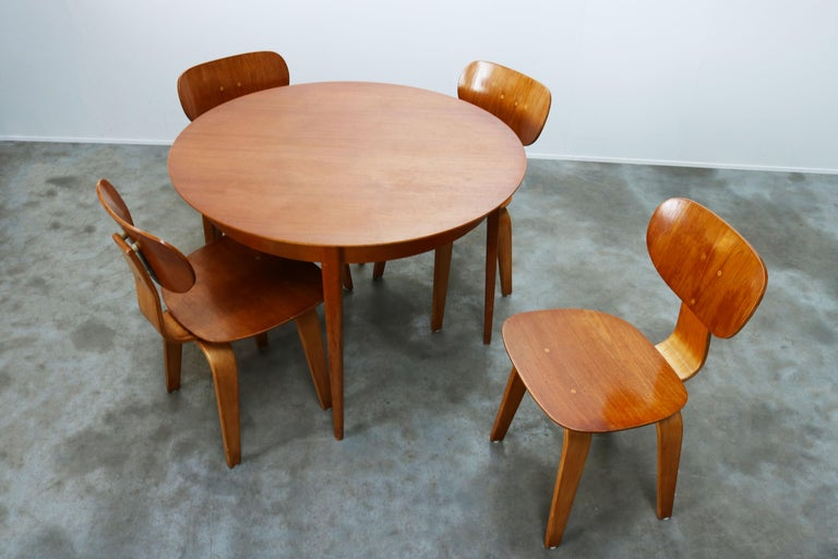 Birch Cees Braakman for UMS Pastoe Dining Set 1952 SB02, TB05 Beige Brown Yellow Teak For Sale