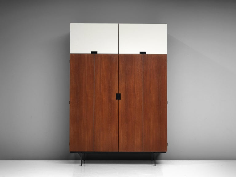 Cees Braakman for UMS Pastoe, teak and metal, Netherlands, design 1958, production 1960s.  This highboard is designed by Cees Braakman, and is from his Japanese Series for Pastoe.