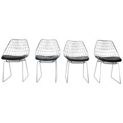 Cees Braakman Set of 4 Wire Chairs Model, 'SM05' for Pastoe, 1950s